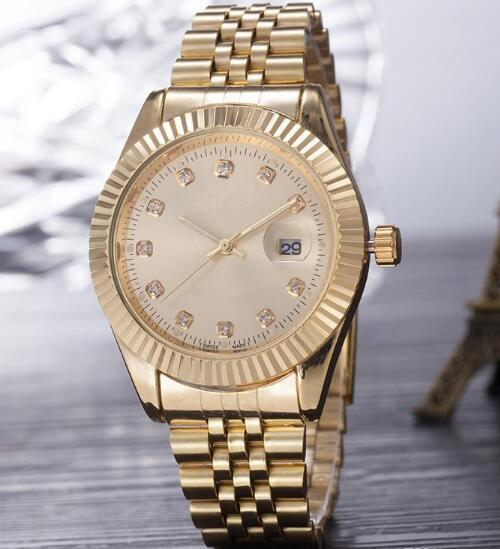 2019 Top Selling Luxury New Brand Men Watch Gold Stainless Steel Gold Dial Wristwatch Male Quartz Watches Double Calendar Wrist watch