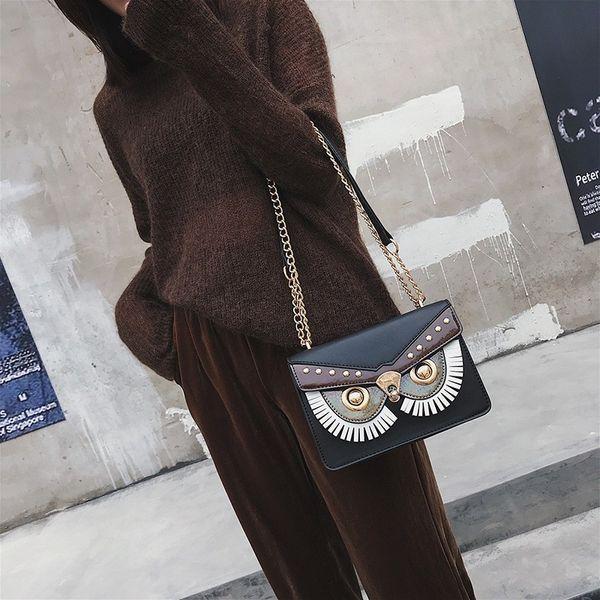 Fashion Designer Bags Famous Brand Women Bags 2019 Stylish Owl Pattern Crossbody Messenger Bags For Women Chains Ladies Handbags