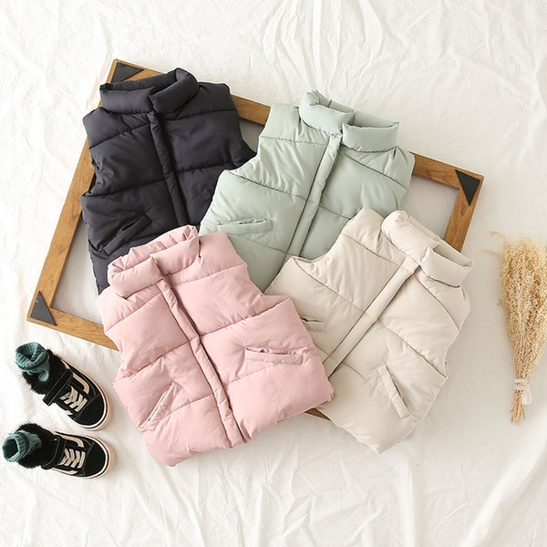 4 color girl cotton vest 2018 autumn winter new product Korean hand plug cotton vest girl cotton jacket thickened