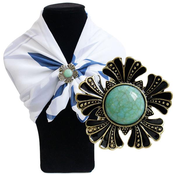 Venda quente europa gemstone cachecol fivela broches para as mulheres das senhoras de prata banhado a ouro moda strass cachecóis fivelas
