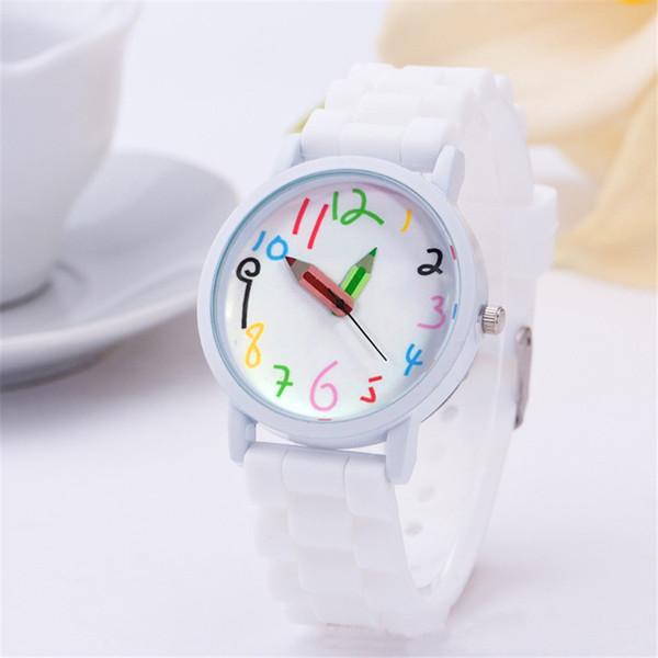 Preciosa correa de silicona Relojes de lujo Niños Niñas Relojes Mujeres Lápiz lindo Puntero Relojes de pulsera de cuarzo Relogio Feminino Envío de la gota