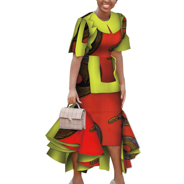 Fashion Dashiki African Women Patchwork lady Dress Clothes Bazin Rihce Traditional African Wax Print Dress for Women WY3817