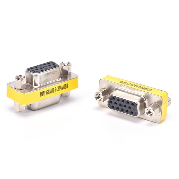 HOT 2pcs Female To Female VGA HD15 Pin Gender Changer Convertor Adapter MINI PC VGA Female Connector F/F Cable Extend