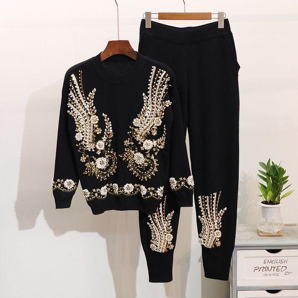 Invierno Nueva Moda Mujeres Conjuntos de punto Con cuentas bordado de lentejuelas suéter de manga larga Harlan pies pantalones traje mujeres