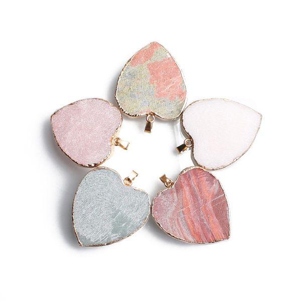 Collier moellons naturelle Pendentif 30 * 35 mm Coeur pendentif en forme de Rose Quartz Blanc Agate jaspe rouge Charms Pierre Bijoux