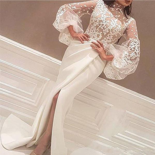 2019 Designer High Neck Weiß Arabisch Abendkleider Bodenlangen Spitze Appliques Lange Große Ärmel Meerjungfrau Seitenschlitz Prom Kleider Formales Kleid