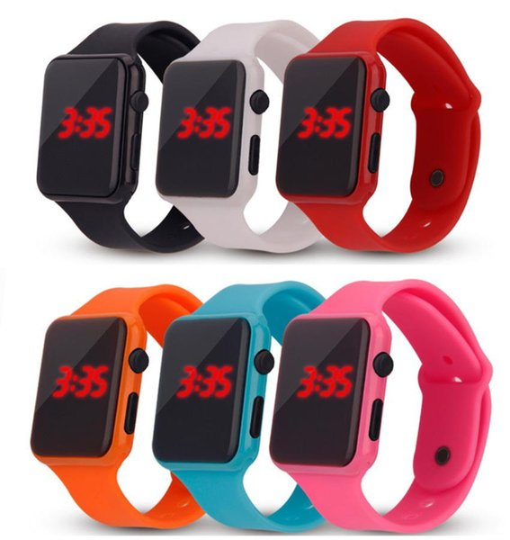 Electronic Watches Hot Sale Rubber Band Square LED Watches Wholesale Fashion Simple Digital Candy Color Silicone Strap Wristwatches LW085