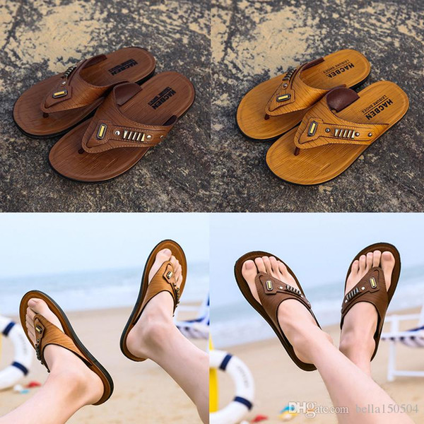 good quality Leather flip-flops Designer Brand Thong Sandals Beach Casual Slippers Teenagers Flip Flops Beach Shoes for mens Designer Shoes