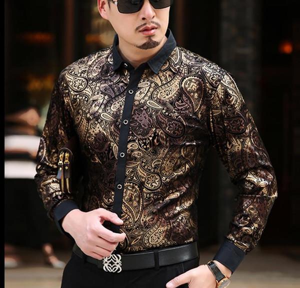Moda Luxo Velvet Mens Gilding Shirts Formal Paisley Imprimir vestido de seda shirt Homens manga comprida Negócios Shirt Slim Fit