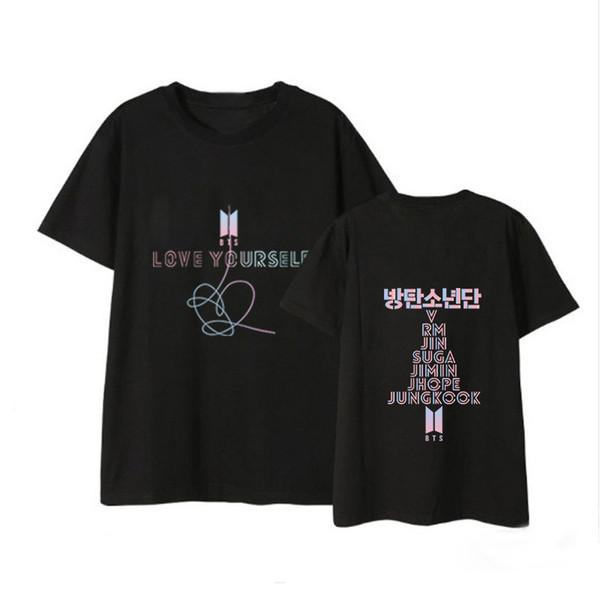 Kpop Bangtan Garçons T-shirts BTS Coton Amour Vous-même Top T-shirts Fans T-shirts À Manches Courtes SUGA RM JIN Jung Kook Hauts Livraison Gratuite
