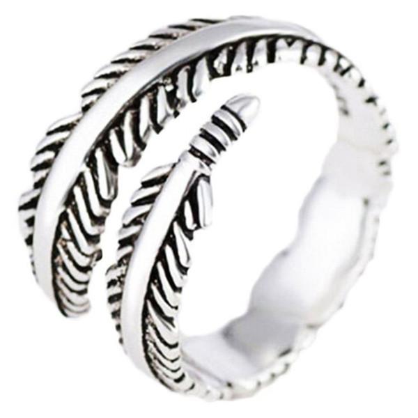 Joyería de la boda de los anillos abiertos de la pluma elegante para las mujeres - puede ser ajustable