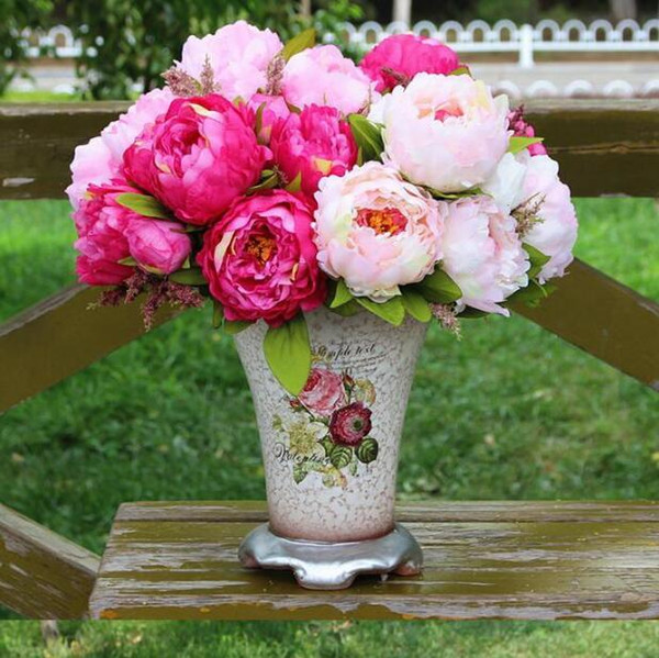 2019 Peony Beautiful Flower Home Decoration Hand Made Artificial Peony Bunch Flowers Bridal Accessories Garden Bulk Runners 7 Flower Peony Heads From