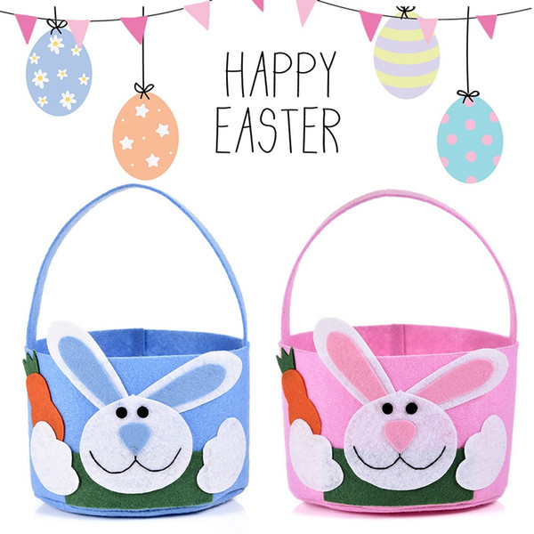 Non Woven Easter Basket Easter Round Bucket Rabbit Gift Bag Blue Pink Bunny Candy Bags W9306