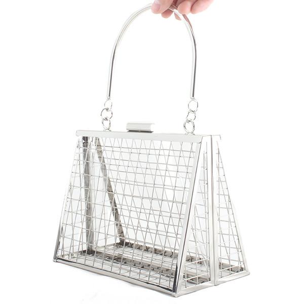Fashion Classic Handbag  Women Metal Hollow Evening Bag Personality Wedding Party Cultch Bag Wallet Phone