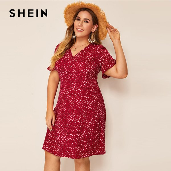 c6a641839d SHEIN Plus Size Burgundy Heart Print Ruffle Cuff Button Up Dress Women  Summer Boho Straight Shift