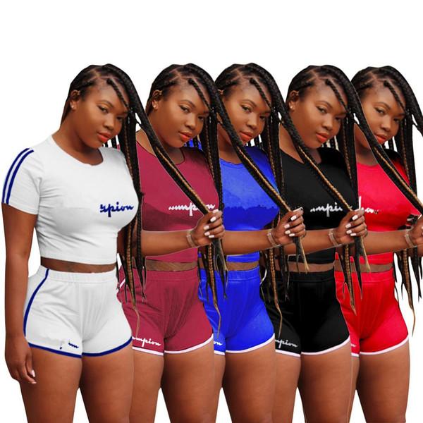 Mujeres Campeones Carta Camiseta de Manga Corta Pantalones Cortos Chándal Traje de Verano Crop Tops Camiseta de 2 piezas de ropa deportiva Marca Joggers S-3xl B2271