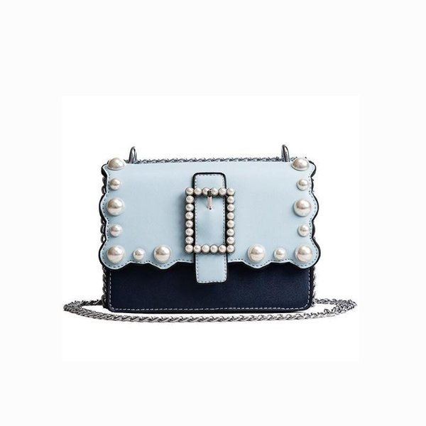 Luxury PU Leather Messenger Bag For Lady Many Colors Women Bags Fashion Pearl Design Chain Shoulder Bag Female ST1012 New