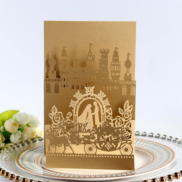 best selling 2021 Wedding Invitations Castle Laser Cut Hollow Favors Invitation Cards Bride And Bridegroom Carriage Party Supplies