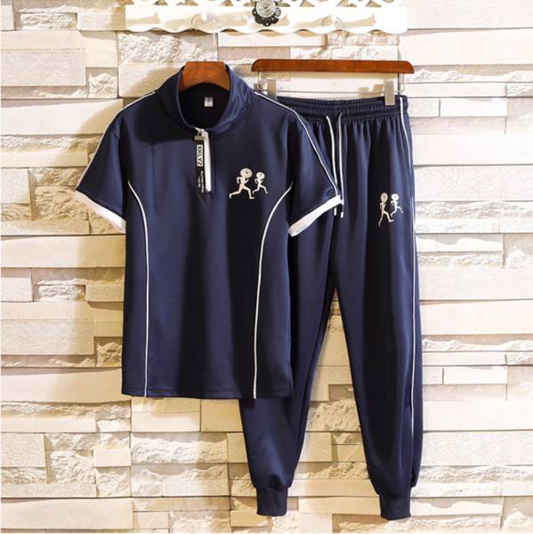 Survêtements de mode pour hommes Costume deux pièces Polo Sport Shirt + Pantalons costumes chemise à manches courtes Marque Polo Shirt Designer Tops Plus Size M-3XL