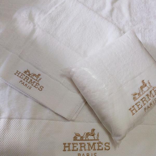 juego de toallas toalla bordada moda infantil comodidad ropa de algodón de felpa adulta de dos piezas simples toalla blanca