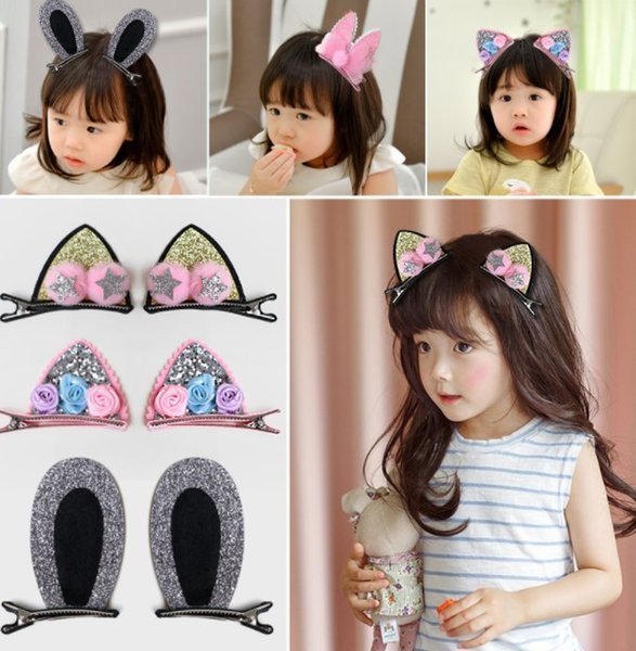 1 pair 2019 HOT Bow Rabbit Ears Headband Girl Ring Scrunchy Kids Ponytail Holder Hair Accessories For Children Hair Band Cute Polka Dot