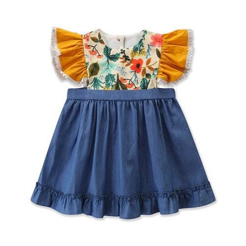 РЕБЁНОК летние платья 2019 муха рукав цветочные платья девушки бутик одежды лоскутное джинсовые платья малышей рябить Пачка платье INS одежды горячие