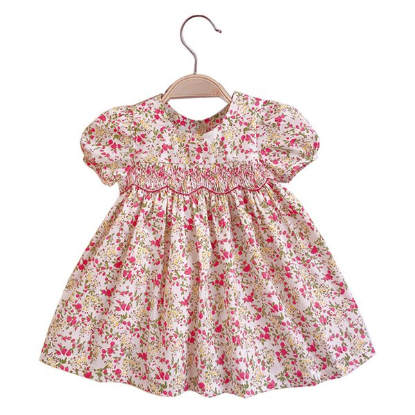 0-3 años Bebé Infantil Flor Impreso Vestidos Chica Vintage Doll Smocked Princess Dress Newborn Mangas cortas Partido Bow Dress J190426