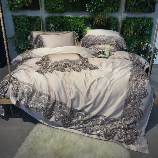 Grey Lace 100S Egyptian Cotton Luxury Princess Royal Bedding set Queen King size Grey Duvet cover Bed sheet/Linen set Pillowcase