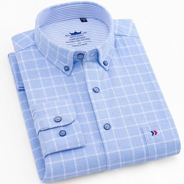 Flannel Shirt Men Long Sleeve Shirt 100% Cotton Plaid Dress Mens Shirts Casual Slim Fit Blouse Tops Plus Size 5XL Camisas Hombre
