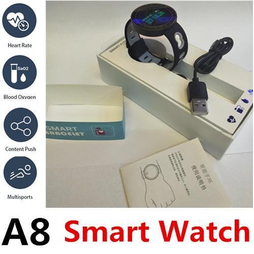 A8 Akıllı Lüks İzle Bluetooth Spor Spor Izci Kalp hızı Parlak ekranı yükseltin mobil uygulamalar için senkronize veri IP67 U8 V8