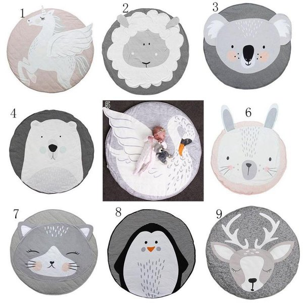 INS Baby Creeping Mats Fox deer Unicorn Rabbit lion swan Play Game Mat Decorative Crawling Blanket Kids Floor Carpet 13 styles MMA1274 30pcs