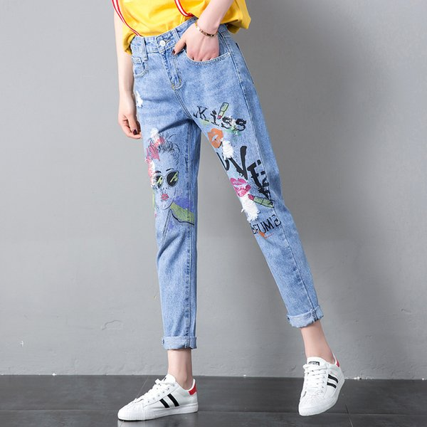 2019 women jeans painted harem casual pants ankle length cotton comfortable high waist stretch blue loose trousers a34