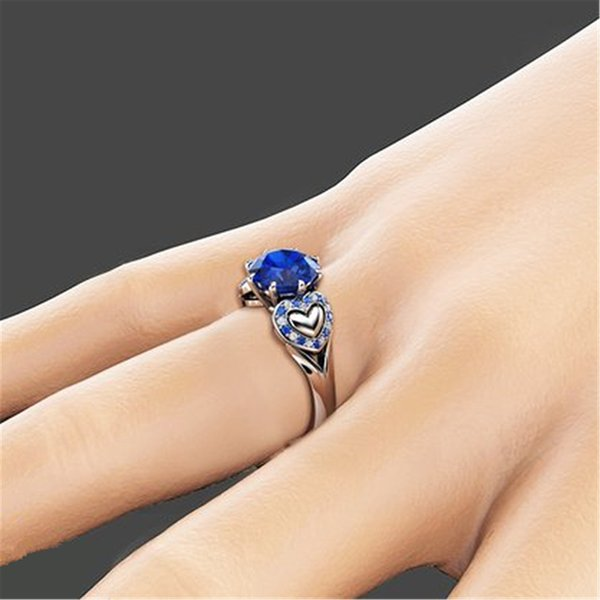 Hot sale Shiny Blue White Cubic Zirconia Jewelry Silver color Heart Ring Size 6 7 8 9 10 2019 Fashion Brand Women wedding Rings