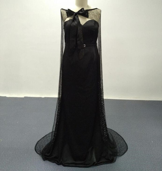2019 New Sexy Black Evening Dresses Real Images Blingbling with Bowtie Cape Sweep Train Evening Gowns Vestidos de fiesta