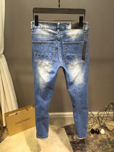 NEW STYLE FAMOUS BRAND MEN'S WASHED DESIGN CASUAL SLIM SUMMER LIGHTWEIGHT DENIM STRETCH DENIM SKINNY JEANS PANTS Straight Biker Skinny jeans