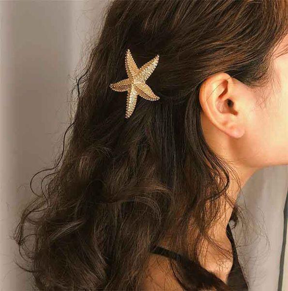 Fashion Elegant Starfish Sea Star Hairpins Barrette Wedding Lady Hair Clips Stick Hairpin Hair Styling Accessories Boho