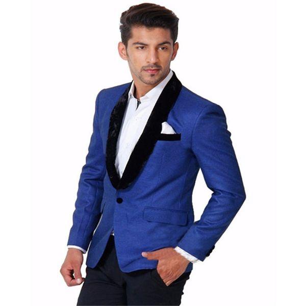 2018 New Royal Blue Jacket Tuxedos Black Shawl Velvet Lapel Best Man Suit Formal Party Prom Dress Suits(Jacket+Pants)