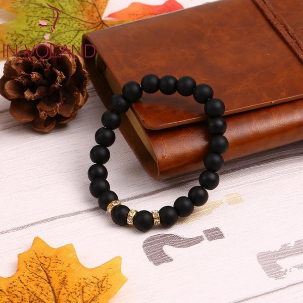 Fashion Exquisite Jewelry Black Frosted Stone Beaded 0.8cm/0.3inch 19cm/7.5inch Bracelet