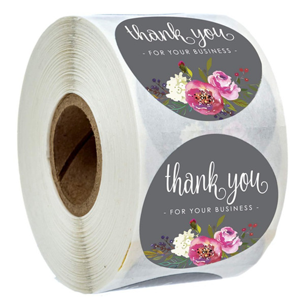 best selling 500pcs Roll Floral Thank You Stickers Thank you for Your Business Coated Paper Seal Label Stickers Handmade Craft Envelope Invitation Card