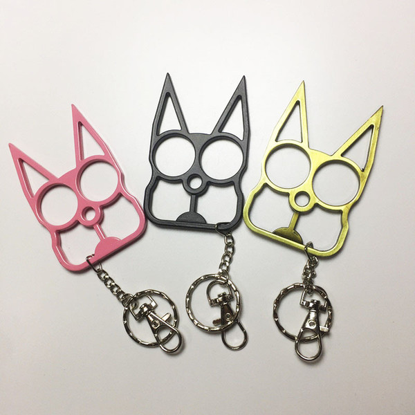 top popular Fashion Cute Cat KeyChain Self-defense Tool two finger clasp with Key Chain Self-defense supplies Window breaker 2020