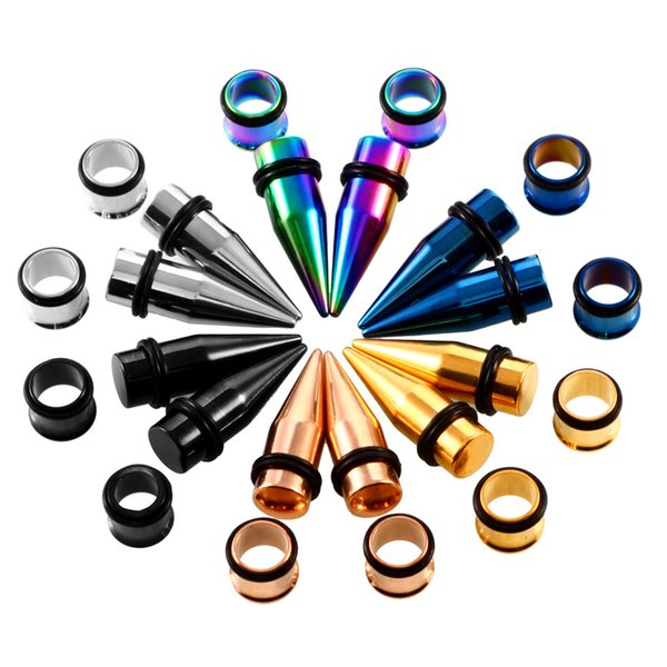 180 piezas de acero inoxidable Spike Ear Taper Expander Single Flared Ear Tunnel Plugs Kit 14G-00G Ear Camilla Calibradores Set Body Jewelry