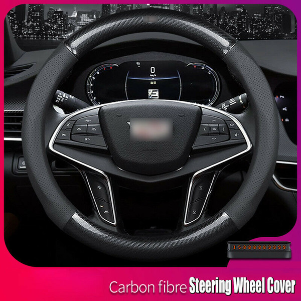 Universal 15 inch M Carbon Fiber Leather Car Steering Wheel Cover For Cadillac