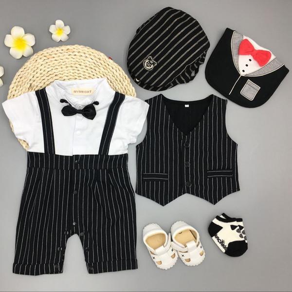 Infant Newborn Baby Boys Clothing Wedding Birthday Tuxedo Cotton Vest+bodysuit+hat+bib+socks+shoes Baby Christening Suit Outfits J190709