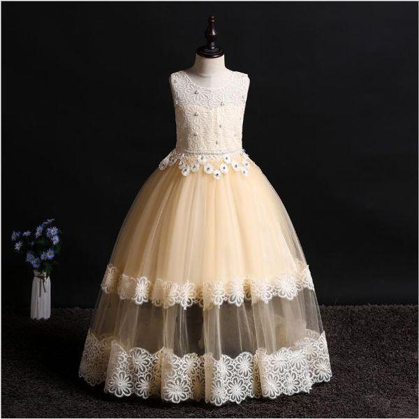 Children Wedding Dress Lace Floor Length Tutu Flower Girl Dresses Solid Color Princess Long Gowns for Kids Pink