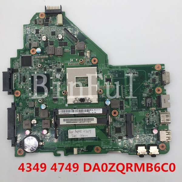 High quality For Aspire 4349 4749 Laptop motherboard DA0ZQRMB6C0 HM65 100% full Tested