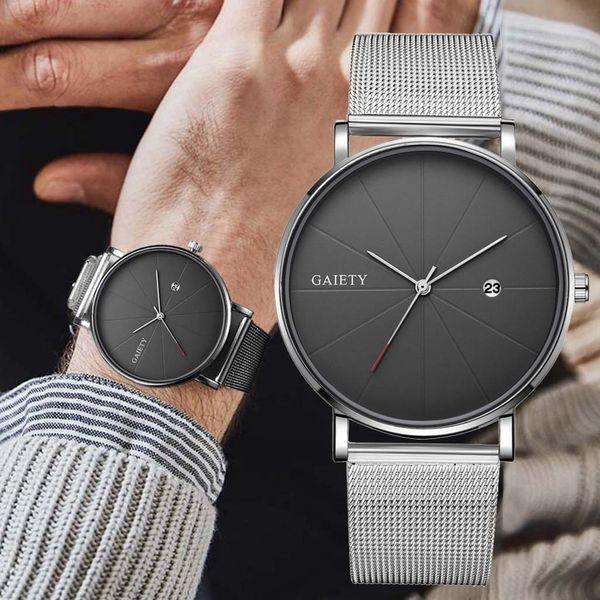 Los últimos hombres sencillos de acero inoxidable ultra-delgado reloj de cuarzo clásico Fecha Relojes de negocios informal cinturón de malla reloj de pulsera relojes