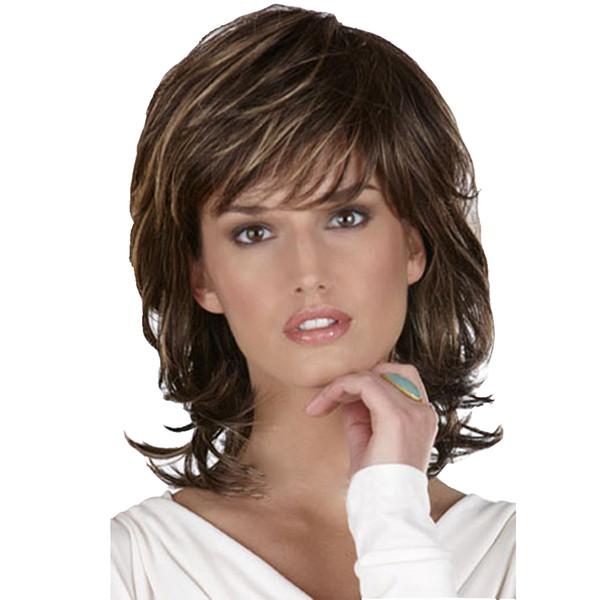 2019 mulheres euro-americanas venda quente 42 cm 16 polegadas franja marrom escuro perucas curtas com menos de 30