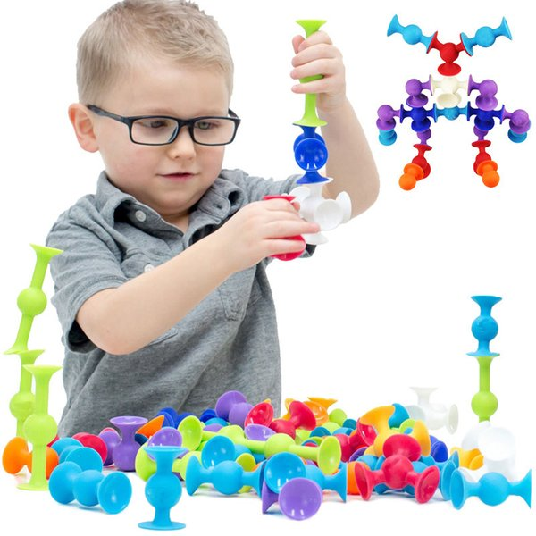 Soft Building Blocks Kids Diy Squigz Sucker Funny Silicone Block Model Construction Toys Creative Gifts For Children Boy Y190606