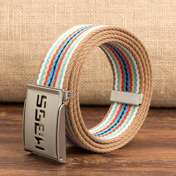 Equipment Army Belt Unisex Casual Solid Color colorful Webbing Canvas Waist Belt letter Automatic Buckle Waistband