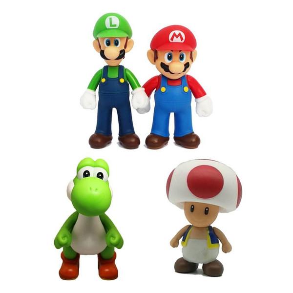 Super Mario Bros Action Figures PVC Luigi Mario Youshi Koopa Kids Collectable Model Cartoon Roles Toys for Children 12cm